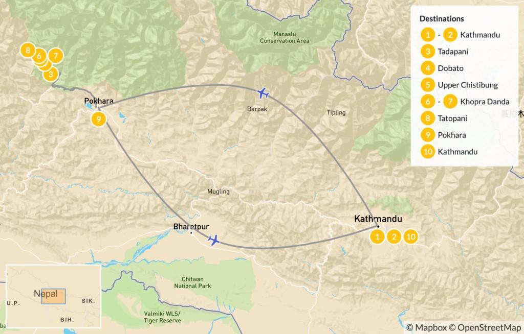 Map of Khopra Danda Trek: Pokhara, Tadapani, Dobato & Khopra Danda - 11 Days
