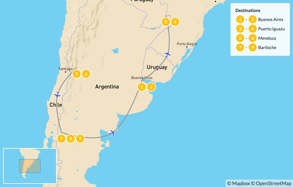 Map of Buenos Aires, Iguazú Falls, Mendoza, & Bariloche - 10 Days