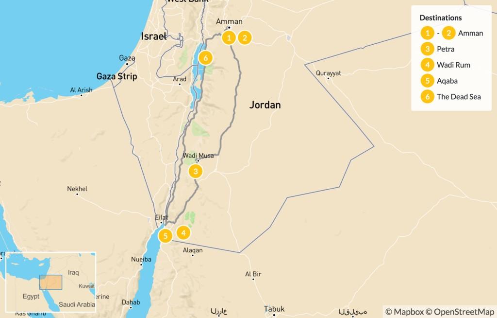 Map of Highlights of Jordan: Petra, Wadi Rum, & Dead Sea - 7 Days