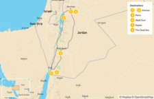 Map thumbnail of Highlights of Jordan: Petra, Wadi Rum, & Dead Sea - 7 Days