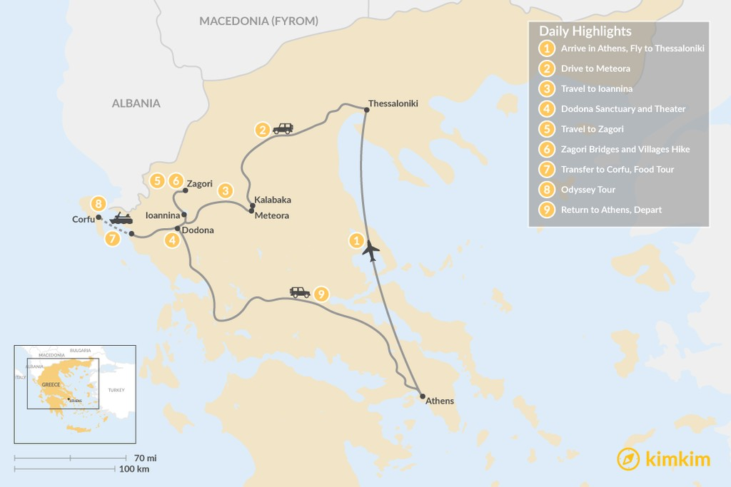 Map of Enchanting Northern Greece and Corfu - 9 Days