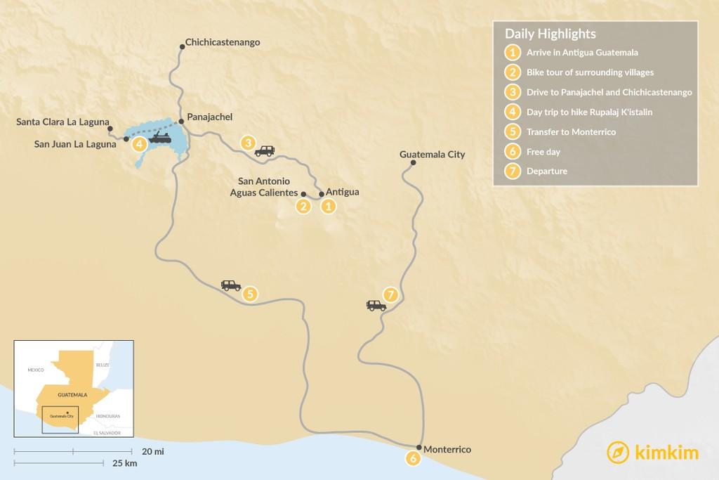 Map of Guatemala: Summit to Shoreline - 7 Days