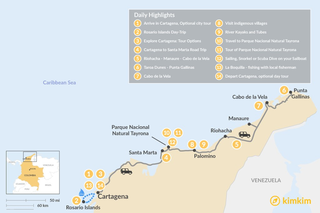 Map of Explore Colombia's Caribbean Coast - 12 Days