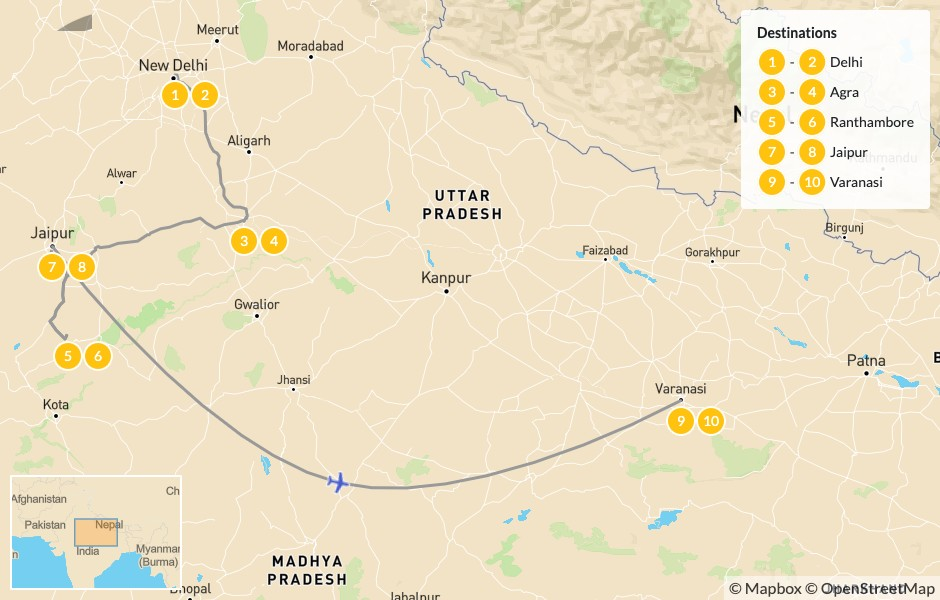 Map of Traditions & Wildlife of the Golden Triangle:  Taj Mahal, Ranthambore, Jaipur, & More - 11 Days