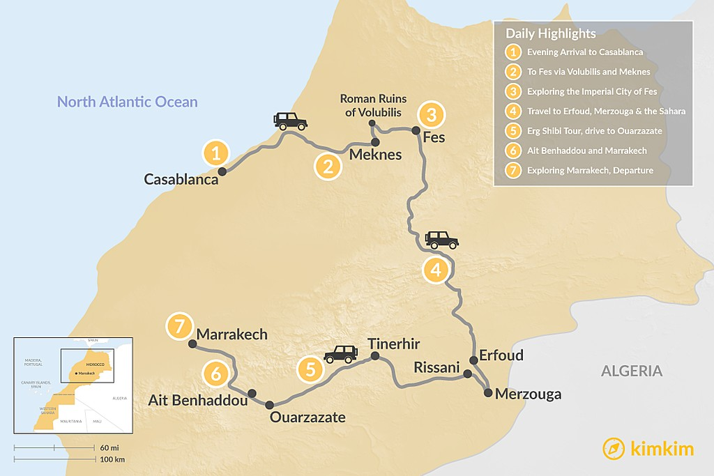 Map of Grand Tour of Morocco: Imperial Cities & the Sahara Desert - 7 Days