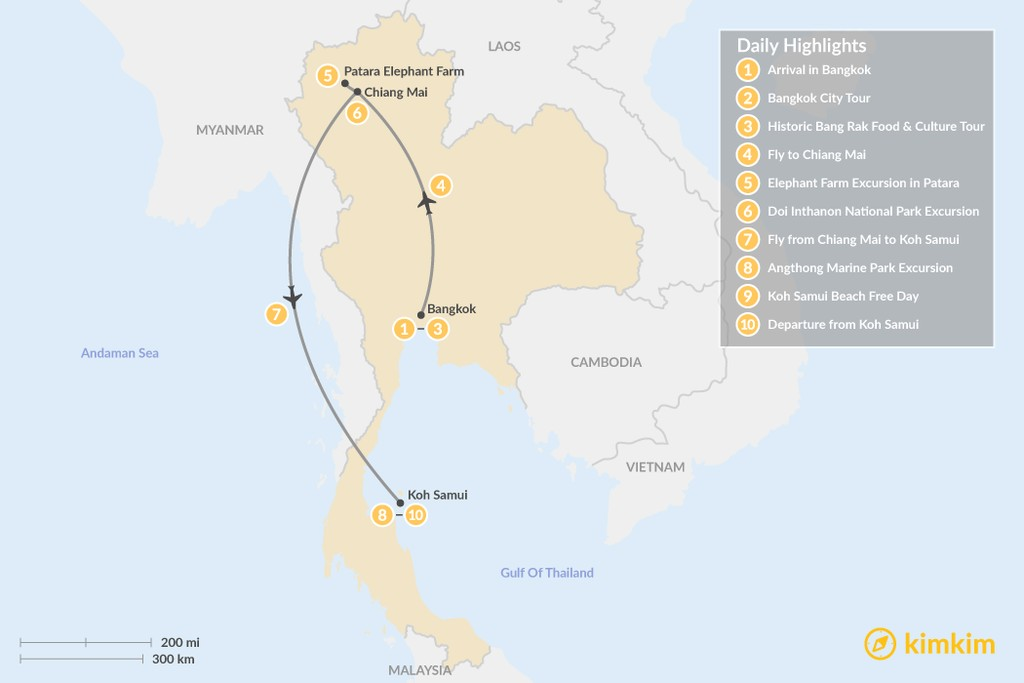 Map of Ultimate Highlights of Thailand - 10 Days
