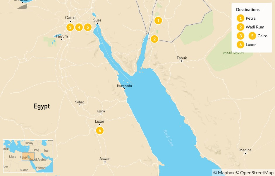 Map of Best of Jordan & Egypt: Petra, Wadi Rum, Cairo, & Luxor - 7 Days