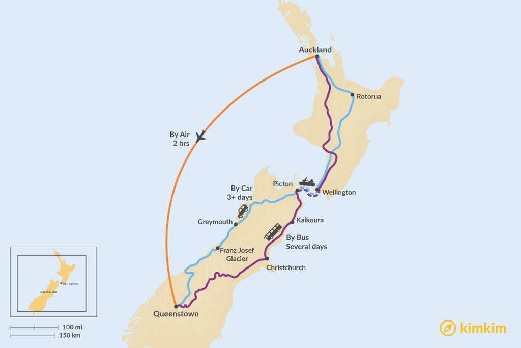 Map of How to Get from Auckland to Queenstown