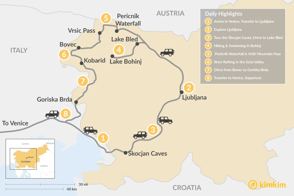 Map of Hike, Wine, and Dine in Slovenia - 8 Days