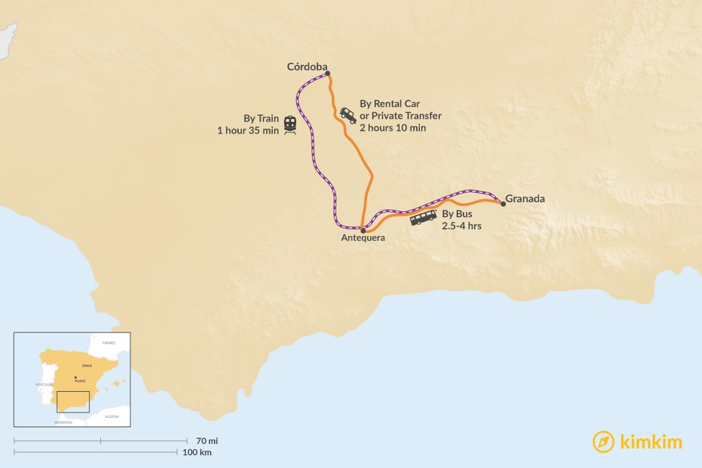 Map of How to Get from Córdoba to Granada