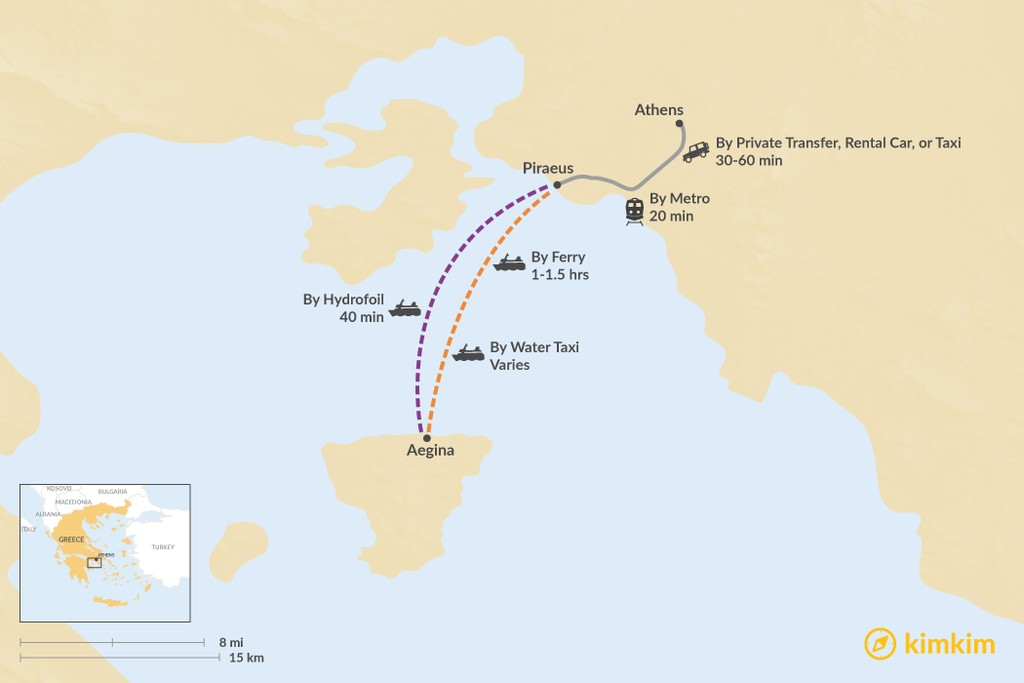 Map of How to Get from Athens to Aegina