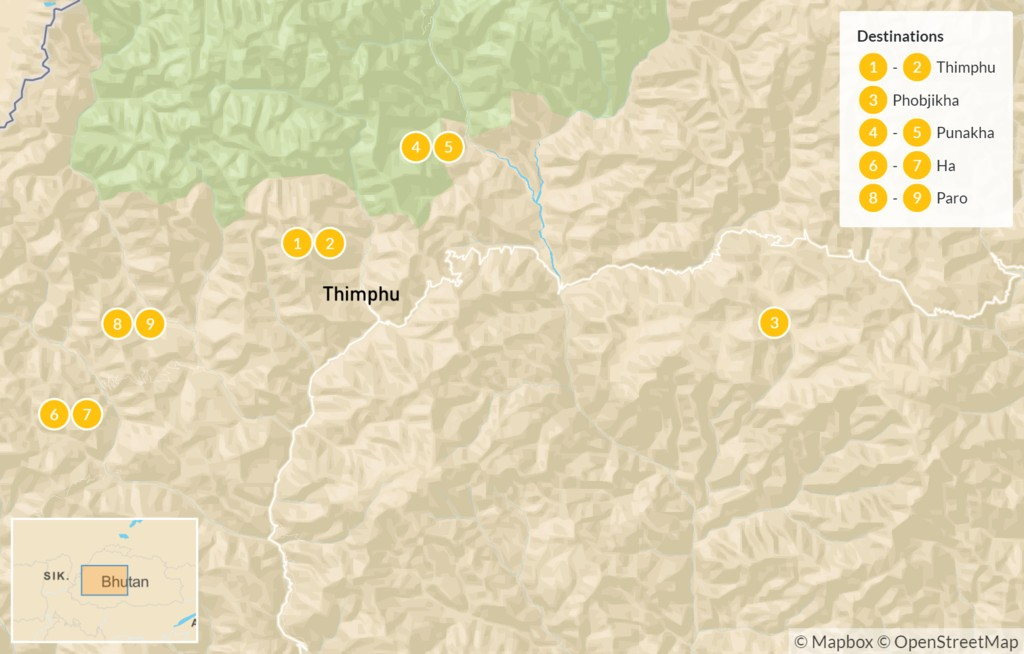 Map of Family Adventure in Western Bhutan - 10 Days