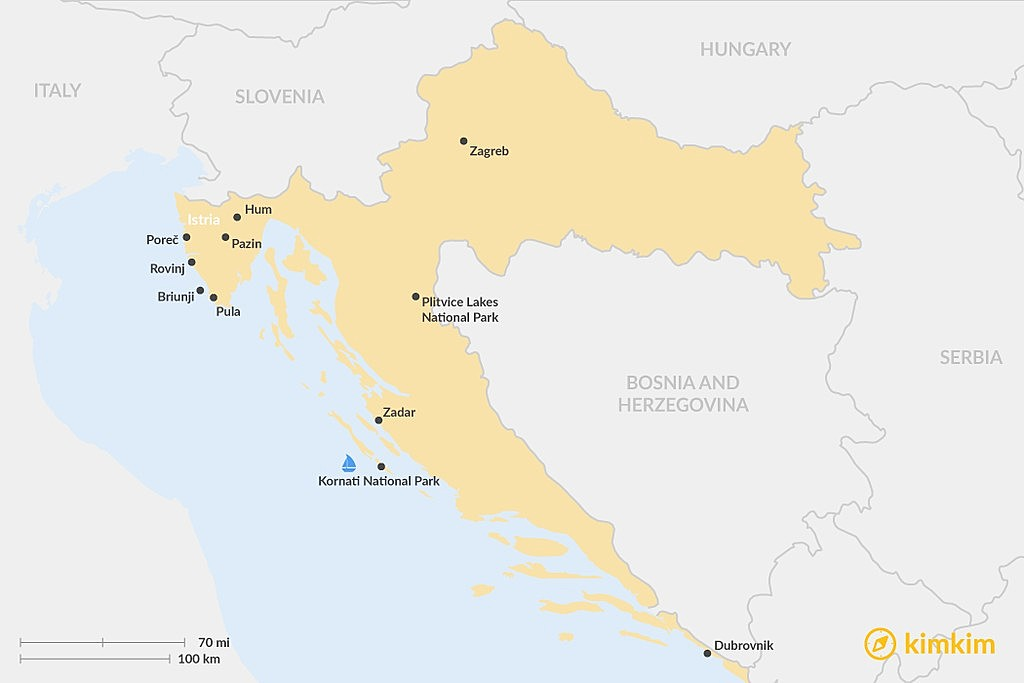 Map of Best Things To Do in Croatia