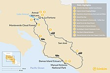 Map thumbnail of Best of Costa Rica: Arenal, Monteverde & Manuel Antonio - 10 Days