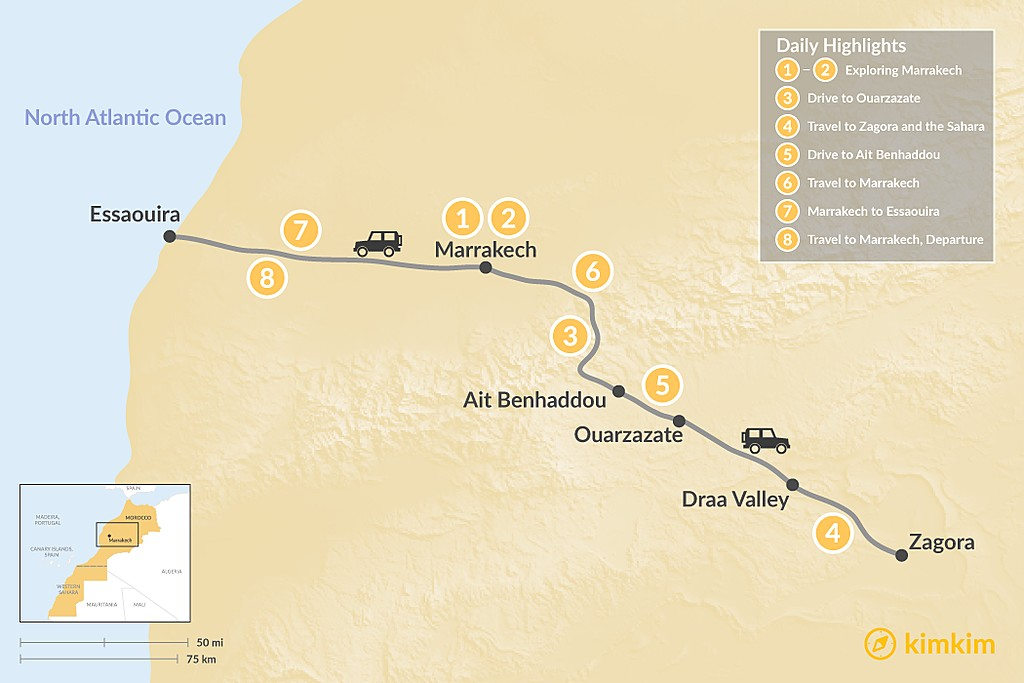 Map of Marrakech, Quick Desert Tour & Essaouira - 8 Days