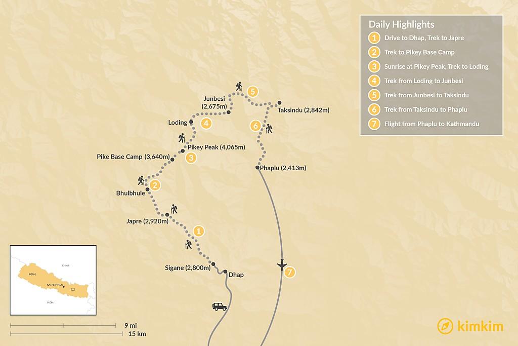Map of Pikey Peak Trek: A Short Trek with Great Views of Everest - 5-7 Days