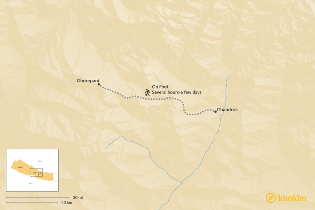 Map of How to Get from Ghandruk to Ghorepani