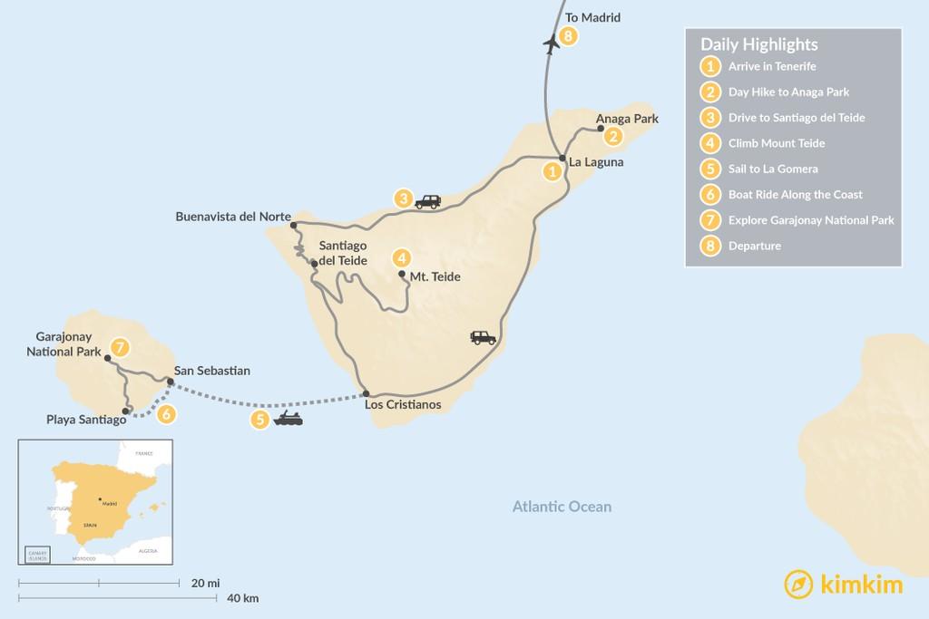 Map of Wild Canary Islands Road Trip: Tenerife, La Gomera & Madrid - 8 Days