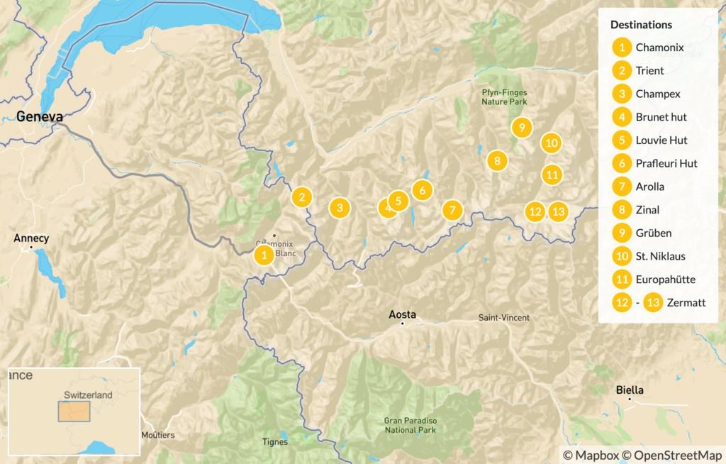 Map of Chamonix to Zermatt Walker's Haute-Raute - 14 Days