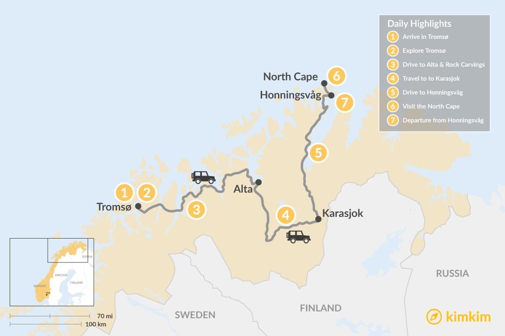Map of Tromsø Winter Adventure - 6 Days