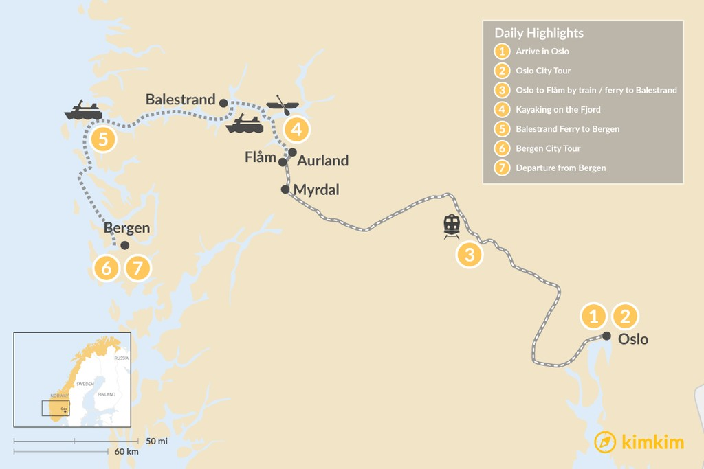 Map of Norwegian Highlights: Oslo, Balestrand & Bergen - 7 Days
