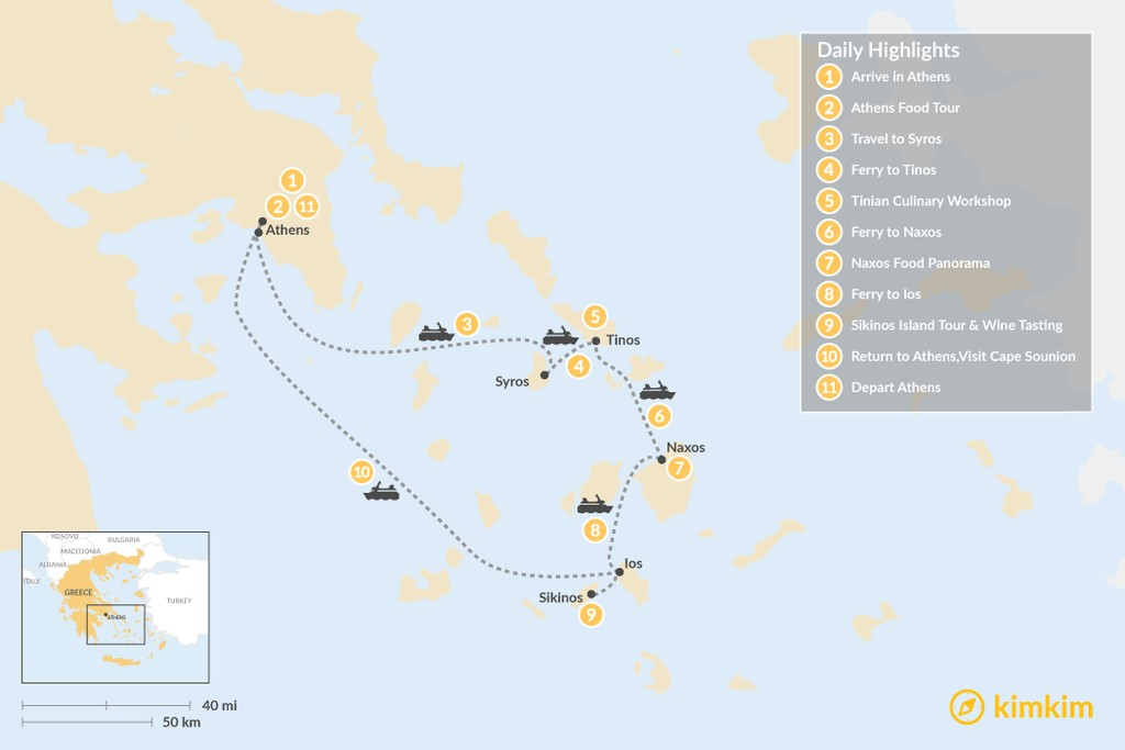 Map of Relaxing Secret Cyclades - 11 Days