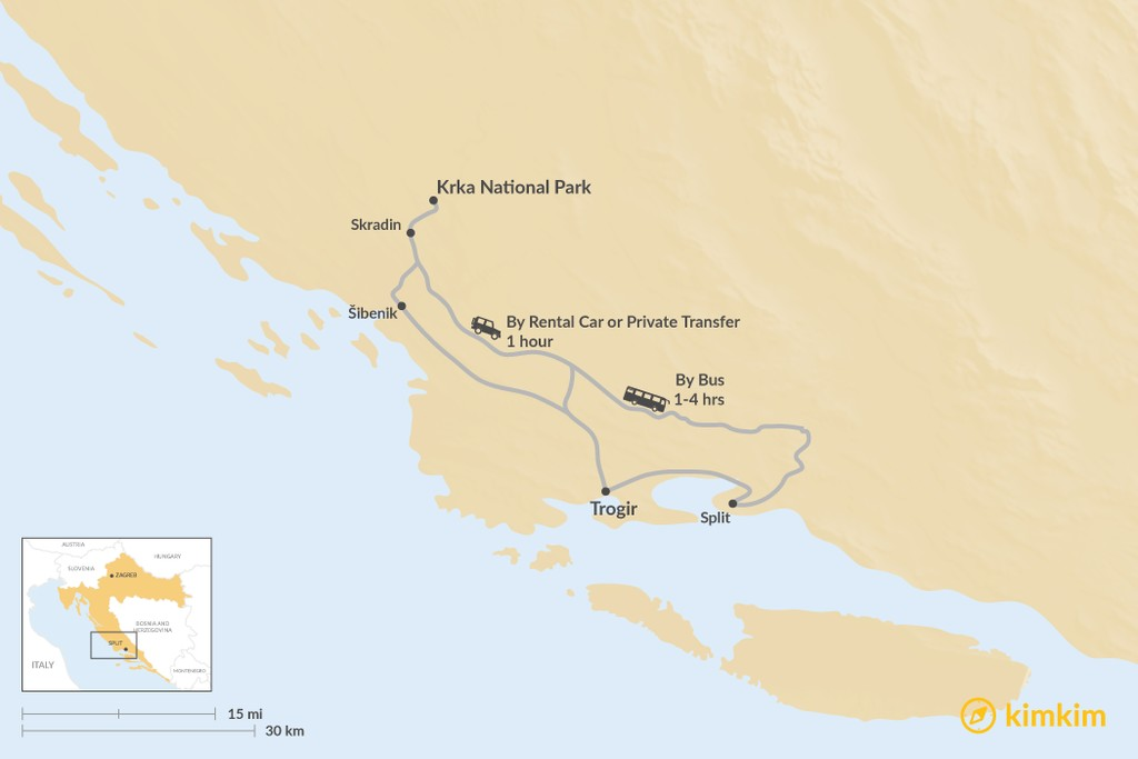 Map of How to Get from Krka National Park to Trogir