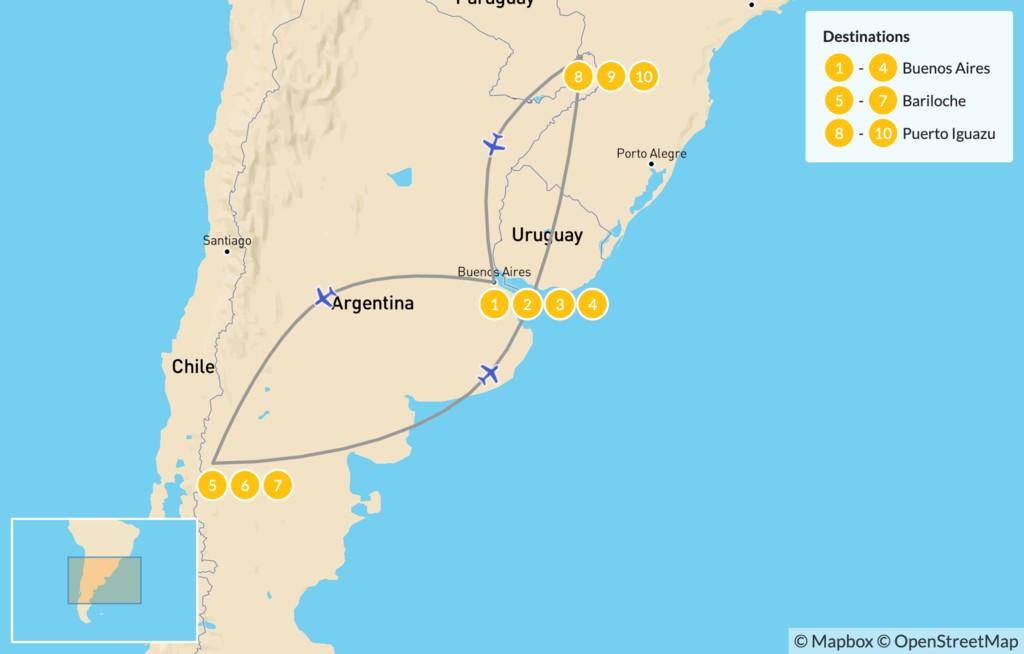 Map of Buenos Aires, Bariloche, & Iguazú falls - 11 Days