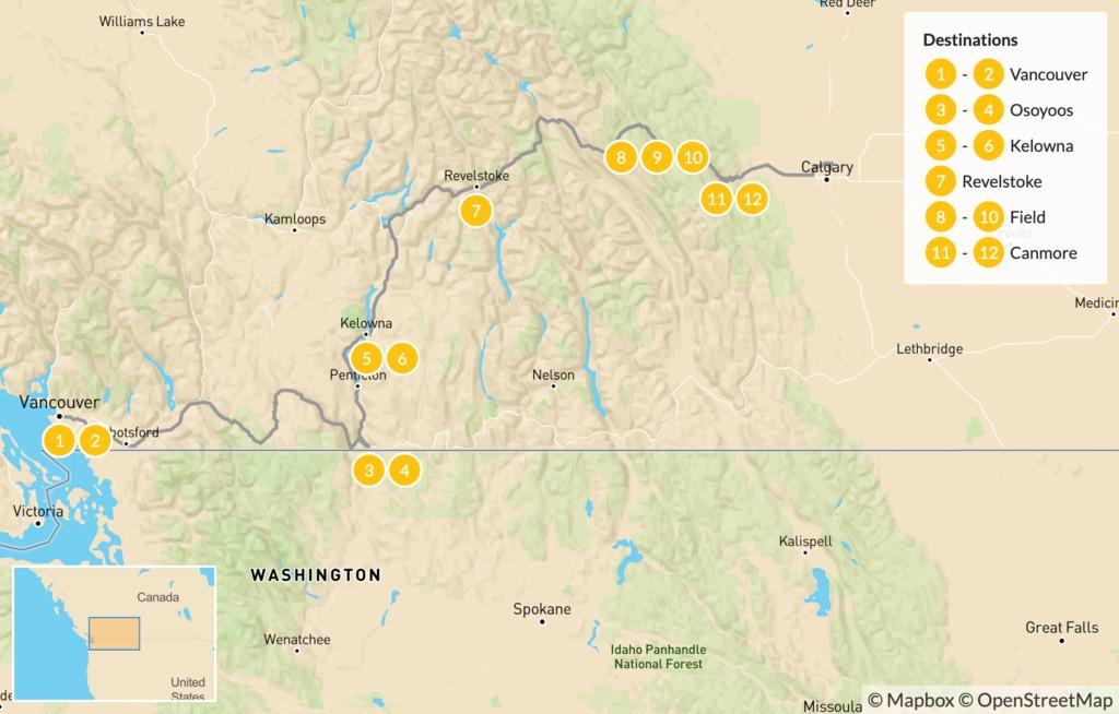 Map of Vancouver to Calgary Road Trip: Okanagan Valley & Canadian Rockies - 13 Days