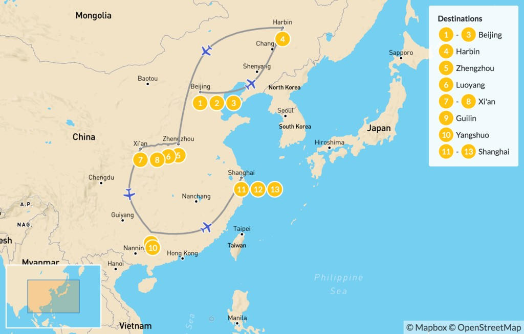 Map of Beijing to Shanghai Winter Tour - 14 Days