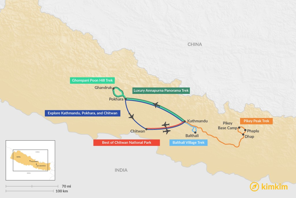 Map of 7 Days in Nepal - 6 Unique Itinerary Ideas