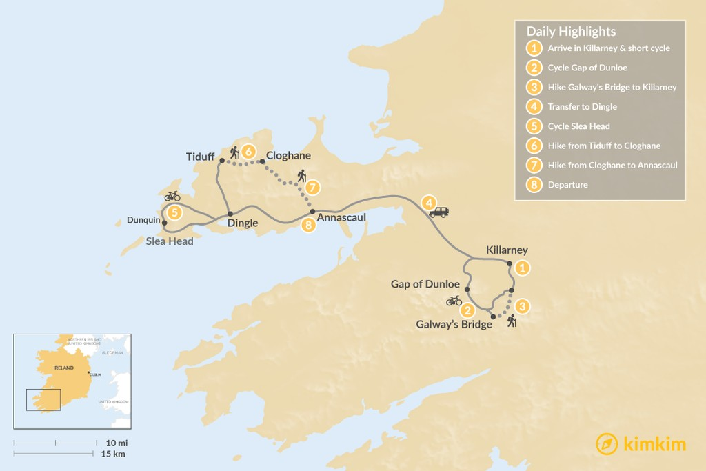 Map of Self-Guided Ring of Kerry Hike & Bike - 8 Days