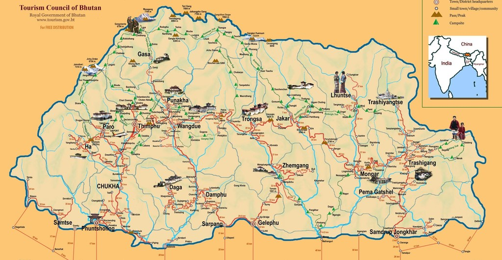 Map of Culture & Trails of Western & Central Bhutan - 14 Days