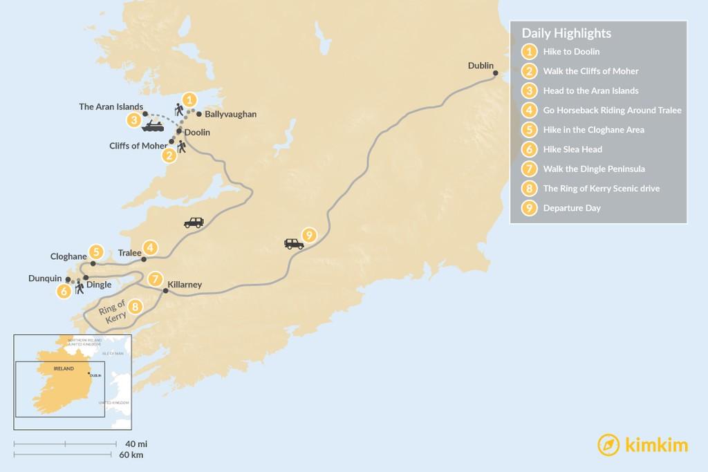Map of Hiking Ireland's Wild Atlantic Coast - 9 Days