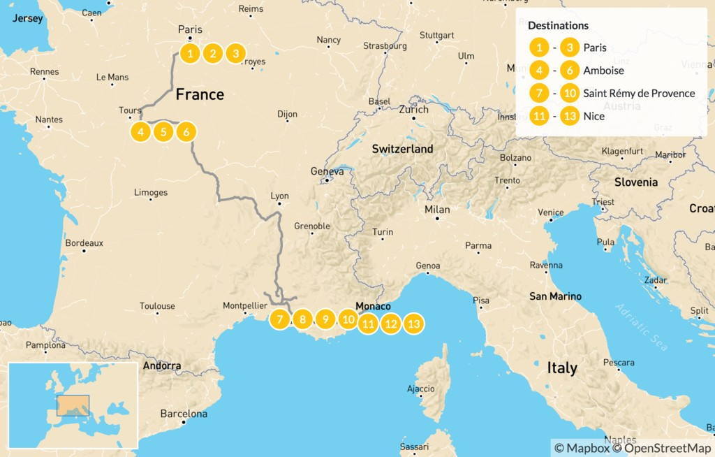 Map of France Family Adventure - 14 Days