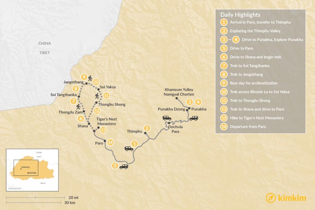 Map of Bhutan Trekking Tour - 14 Days