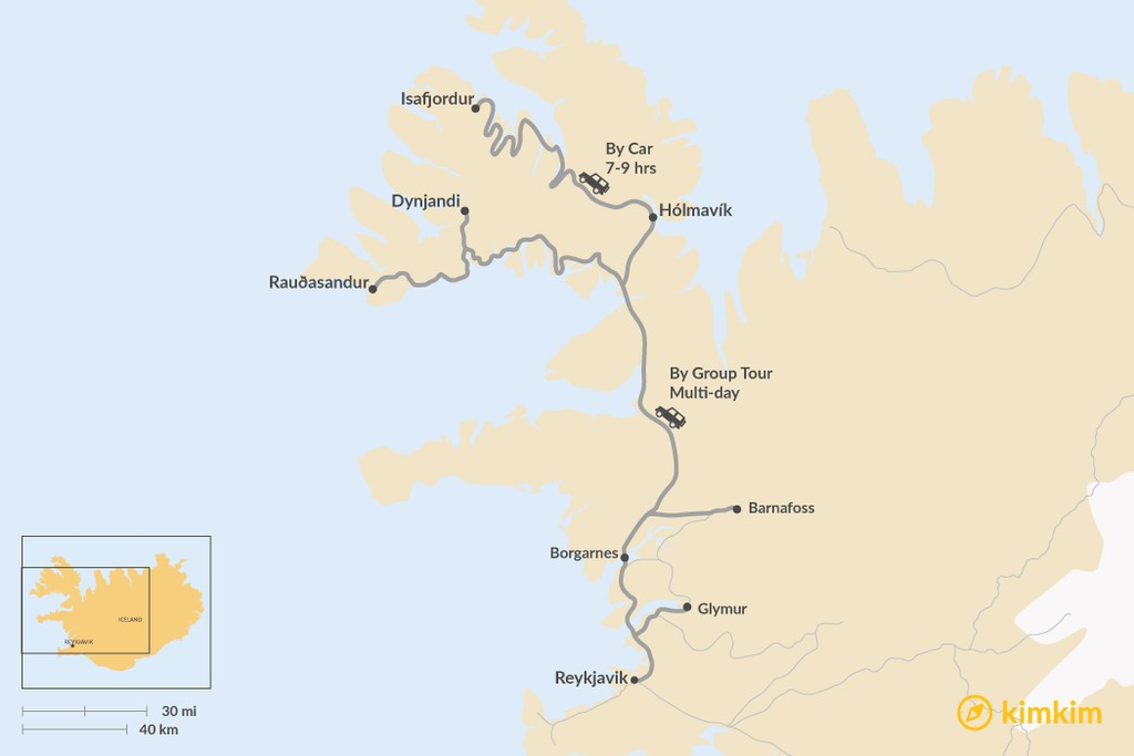 Map of How to Get from Reykjavik to Westfjords