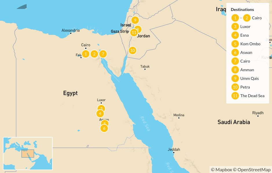 Map of Egypt & Jordan Cultural Tour: Cairo, Nile River Cruise, Amman, Petra, The Dead Sea, & more - 12 Days