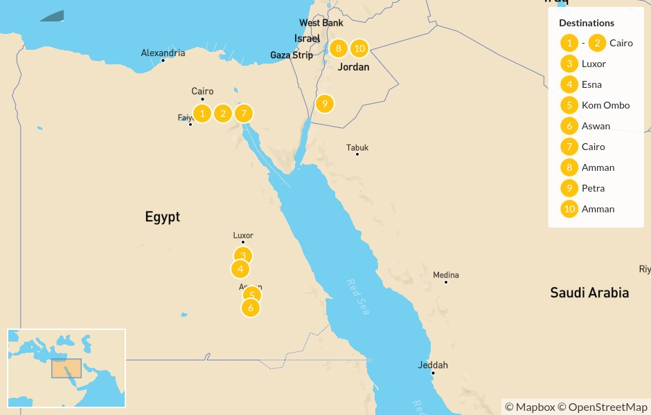 Map of Egypt & Jordan Cultural Tour: Cairo, Nile River Cruise, Amman, Petra, & more - 11 days