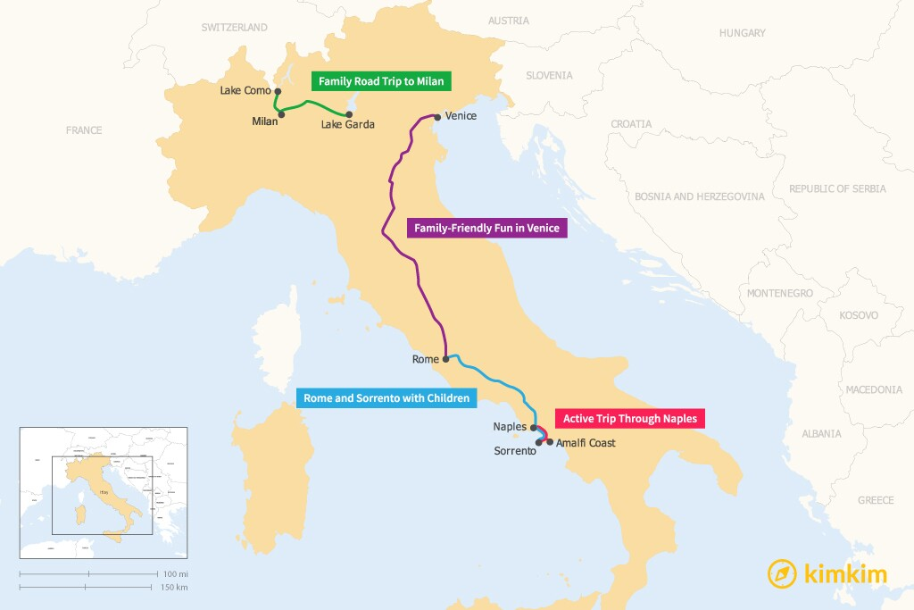 Map of 7 Days in Italy - 4 Family-Friendly Itineraries