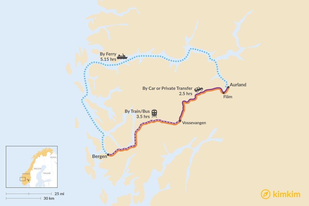 Map of How to Get from Bergen to Aurland