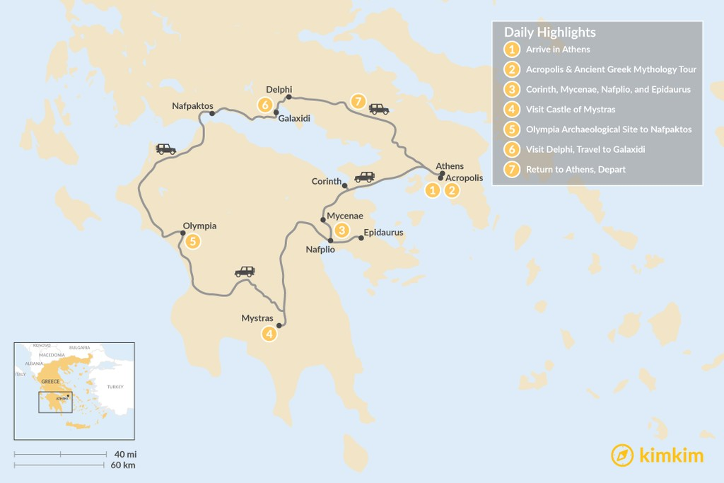 Map of Mainland Greece Road Trip - 7 Days