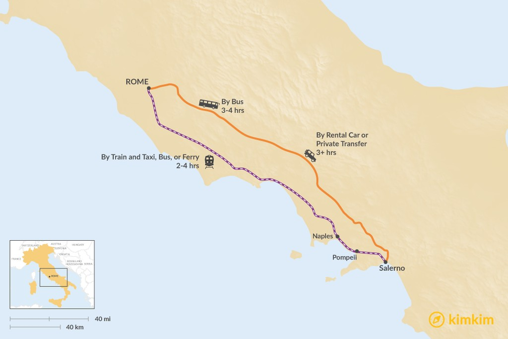Map of How to Get from Rome to Salerno