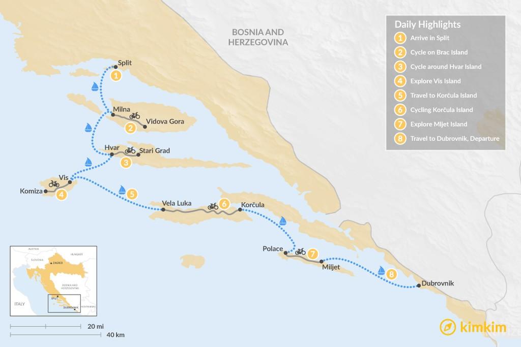 Map of Bike & Sail: Split to Dubrovnik - 8 Days