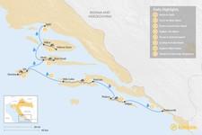 Map thumbnail of Bike & Sail: Split to Dubrovnik - 8 Days