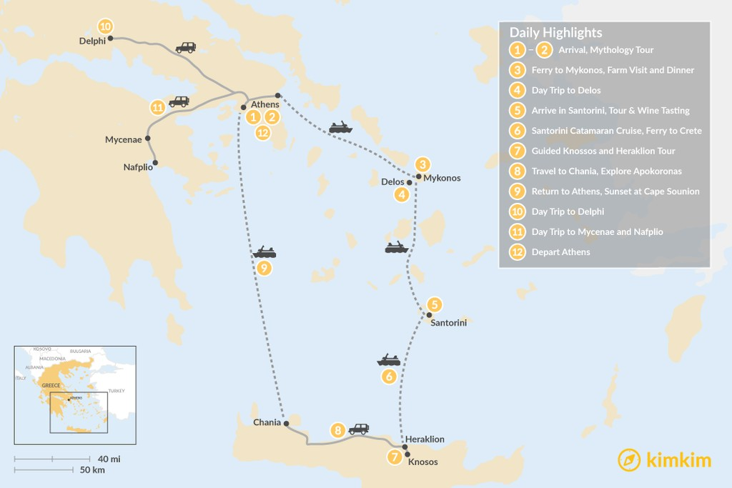 Map of Greek Panorama in Athens, Mainland Greece, The Cyclades, and Crete - 12 Days