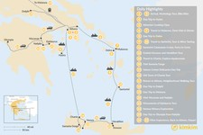 Map thumbnail of Greek Panorama in Athens, Mainland Greece, The Cyclades, and Crete - 25 Days