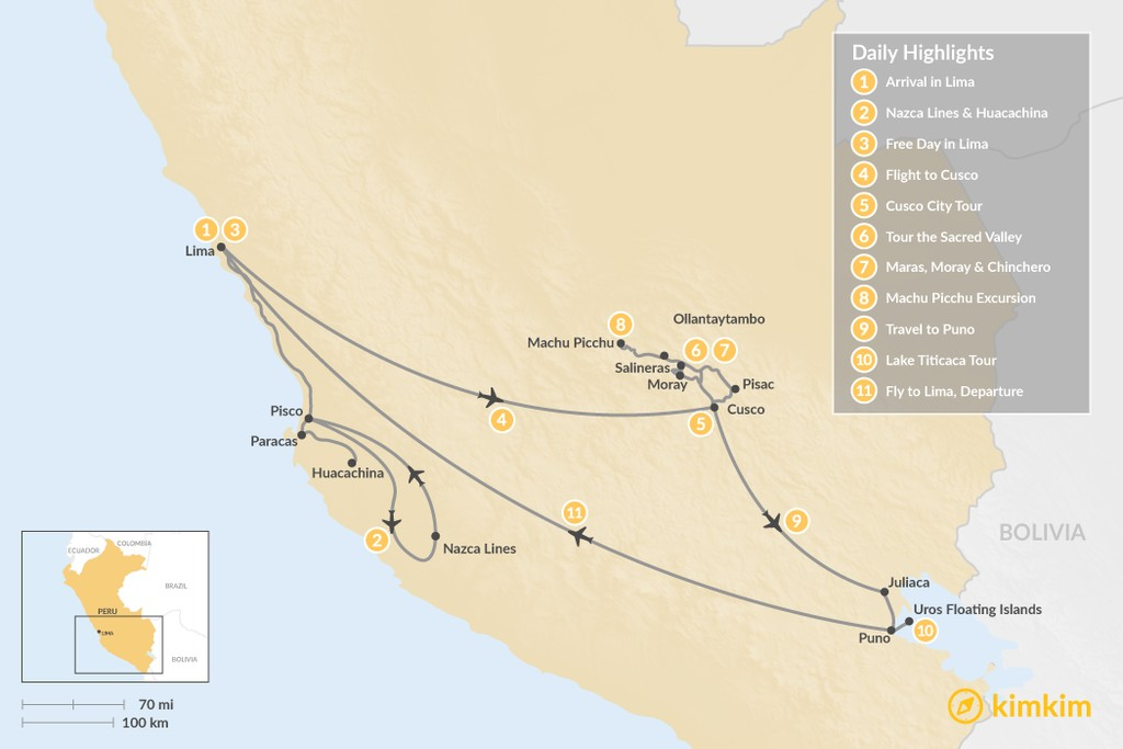 Map of Peru's Cultural Highlights & Nazca Lines - 11 Days