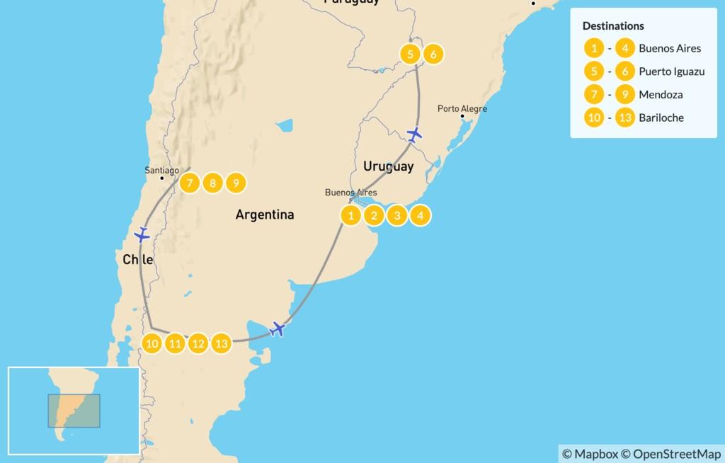 Map of Buenos Aires, Iguazú Falls, Mendoza, & Bariloche - 14 Days