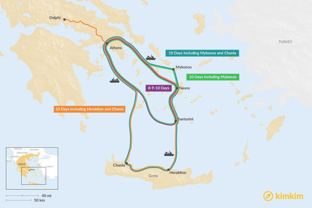 Map of Athens, Naxos, & Santorini: Best Itinerary Ideas